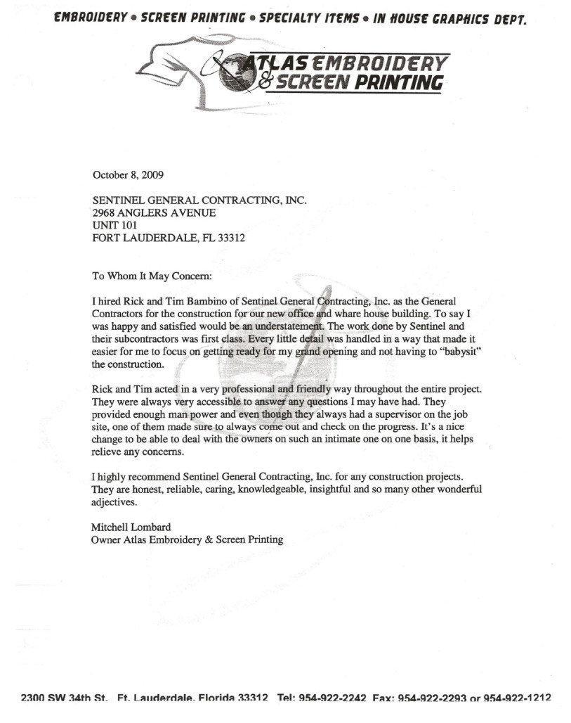 Testimonials  Sentinel General Contractors South Florida